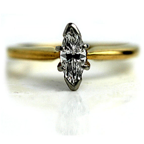 Marquis Emgagement Ring 1960s Vintage Marquis Diamond Ring Two Tone Platinum 14K Yellow Gold and Marquis Diamond Ring Size 4.5!