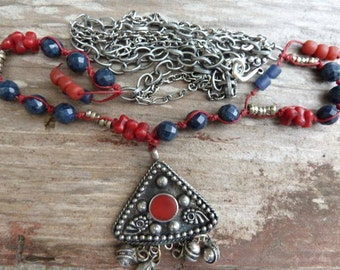 Afghan Treasure Red Stone and Silver Afghan Pendant with Dumortierite, Silver Rings, Old Red Chumash Beads on Linen Thread & Gunmetal Chain
