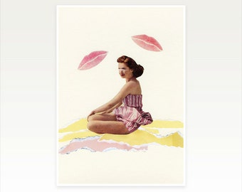 Mid Century Beach Art, Female Figure Portrait Print - Be Mine