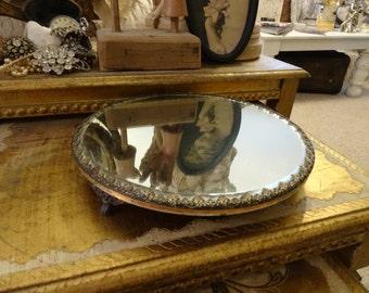 Vintage Shabby Cottage Chic Victorian Plateau Mirror