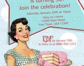 Printable DIY 50's Retro Housewife Theme Birthday Party Invitation