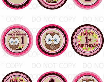 """Printable Personalized Owl First Birthday Themed 2.5"""" Labels (Avery 22830 Template)"""