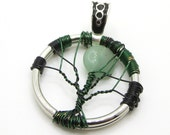 Green Aventurine Pendant Moon Pendant - Wire Wrapped Pendant - Earth - Gaia - Mother Earth