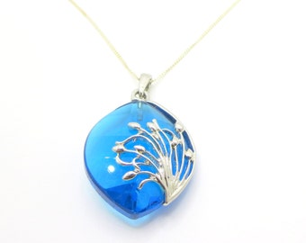 Blue Pendant with Silver Necklace