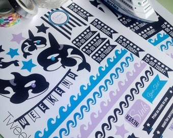 EDITABLE and Silhouette Ready Orca Themed Sticker Set for Horizontal Erin Condren Planner