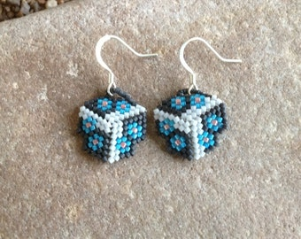Blue Flowers Triangle Beaded Earrings