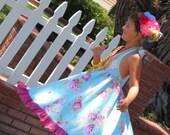 Sky Blue Rose Halter Dress