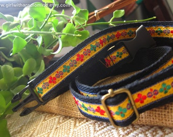 Utility Belt Black - Adjustable with Folk Embroidery Embellishment in Yellow or Blue Trim - Free Size for Kids and Adults