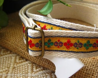 Belt Beige with Yellow Folk Embroidery Trims - Free Size for Kids and Adults Adjustable