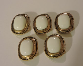 5 Goldtone and White Rectangle Buttons With Shanks