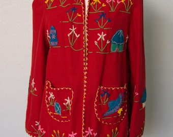 Great 1950s Novelty Fiesta Mexican Tourist Jacket // Embroidered and Appliqued Wool // Bright Vivid Colors