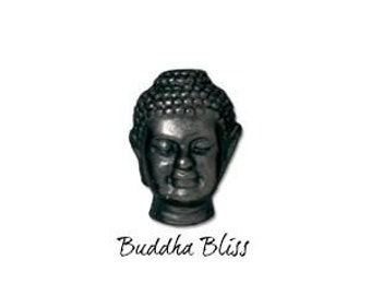 Two Buddha Head Beads Black Oxide TierraCast  Zen Yoga Buddhism