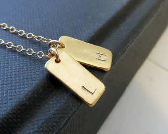 Bar initial necklace, rectangle initial necklace, personalized jewelry, 2 initial charm, gift for her, gold plated bar