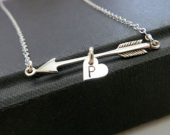 arrow & heart initial necklace, gift for her, personalized couple jewelry, hand stamped, girlfriend, sterling silver