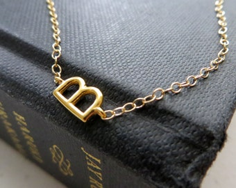 Celebrity style Sideway initial necklace, gold initial sideways, trendy, layered, personalized gift for her