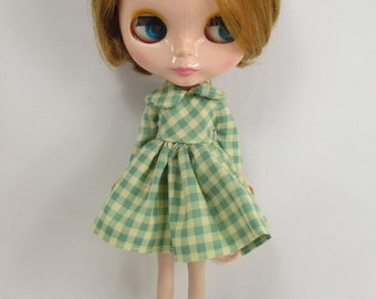 Handcrafted long sleeve scotch dress outfit for Blythe doll 957-25