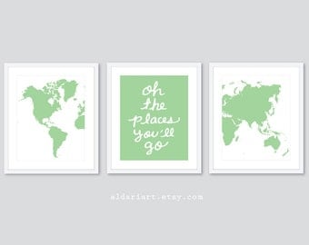World Map Prints Travel Nursery Art Prints Nursery Decor - Set of 3 Prints - Oh The Places You'll Go Quote Print Nursery Prints Custom Color