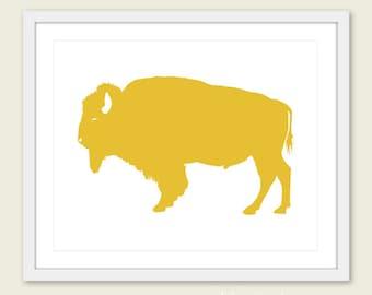 Buffalo Art Print - Buffalo Wall Art - Modern Buffalo Art - Rustic Buffalo Print - Mustard Yellow Art - Buffalo Poster - Aldari Art