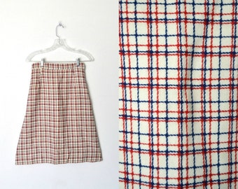Vintage 60s Mod Plaid Wool Skirt Side hook and zip closure / Size Small