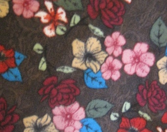 Fleece 2 Layer Handmade Blanket - Its Apple Blossom Time.......on Brown with Gold - Ready to Ship Now