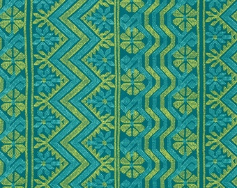 Teal and Green Aztec Stripe Cotton Fabric, Bright Heart By Amy Butler for Free Spirit, Cosmo Weave in Teal, 1 yard