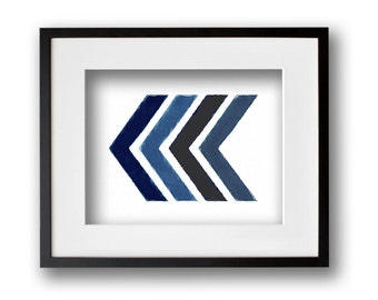 Shades of Blue Painted Chevron Wall Art 8x10 or 11x14 Graphic Print