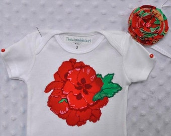 BABY GIRL onesie & headband with large bright red flower appliquéd on the front with matching shabby chic headband