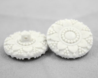 White Flower in Full Bloom Resin Buttons. 6 in a set, 1.10 inch