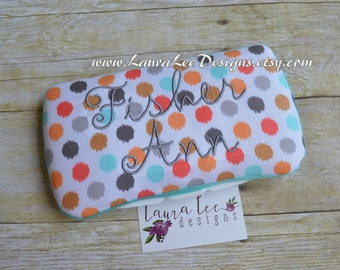 READY TO SHIP Spa Dots in Aqua, Orange, and Gray Polka Dots Boutique Style Travel Baby Wipe Case, Personalized Wipe Case, Diaper Wipe Case
