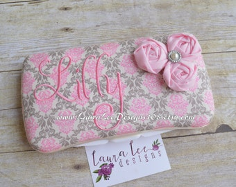 Pink and Gray Damask with Pink Flowers Travel Baby Wipe Case, Nappy Wipecase, Diaper Bag Wipe Clutch, Personalized Wipe Holder, Wet Wipecase