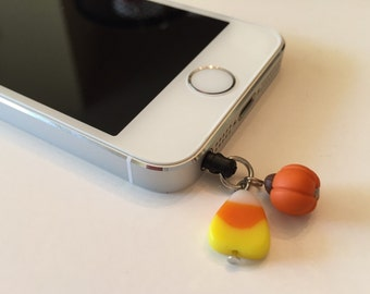 Halloween Candy Corn and Pumpkin Earphone Plug Cell Phone Charm