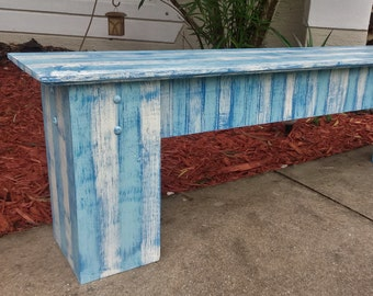 Beach House Style Bench, Lake House Furniture, Rustic Wooden Bench