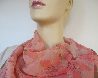 Pink Lilies Vera Neumann Ladybug vintage silk chiffon scarf