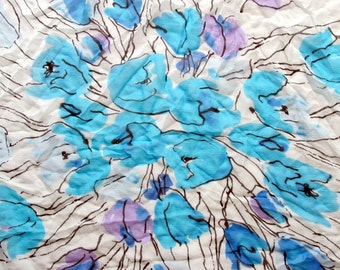 Fantastic Silk Scarf Vera Huge turquoise tulips chiffon vintage white