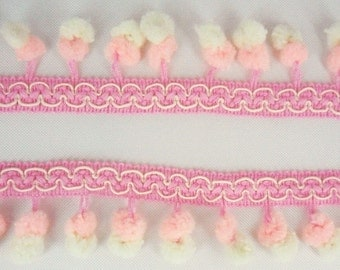 Double Light Pink Cream Mini Pompom Twin Ball Dangling Fringe Lace Mix Color Trim Sewing Braid Ruffle 3 Yards