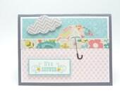 Baby Shower Card, Umbrella Rain Cloud Shower Greeting Card, Pastel Spring Baby Card, Handmade Baby Shower Card