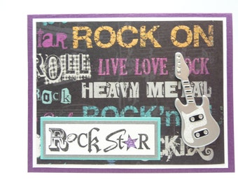 Rock 'n Roll Birthday Card, Rock Star Card, Guitar Card, Music Birthday Card, Handmade Paper Greeting Card for Her