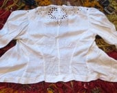 SALE  Beautiful Victorian Cut Work Embroidered White Cotton Jacket, L