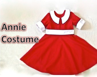 Orphan Annie Dress sizes 2T through 6X Red with white trim, black edging