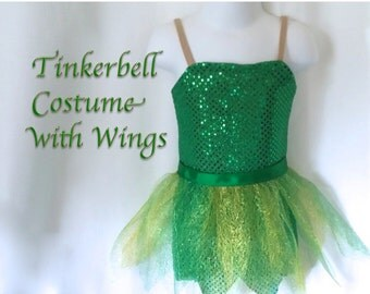 Adult Tinkerbell-inspired Fairy Costume Green sparkle with Leaf Skirt and Fairy Wings- made to order