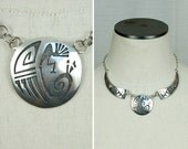 vintage sterling silver STORYTELLER southwest necklace • artist kay johnson