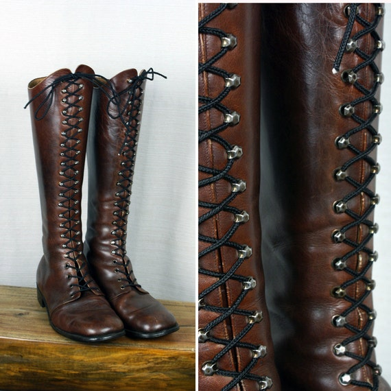 1960s mens vintage lace up boots oxblood leather square