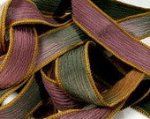 Silk Ribbon, Hand Dyed Silk Ribbons, Hand Painted Bracelet, Olive Copper, Silk Wrist Wrap, Fairy Ribbons - Rustic Autumn