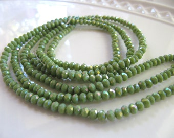 Faceted GLASS Beads in Opaque Spring Green, 4mm x 3mm, 75 Pieces