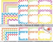Happy Doodle Frames & Labels 02: Clip Art Pack Card Making Digital Frames Page Borders Chevron Dots Stripes