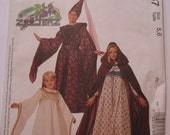 UNCUT McCalls Costumes Pattern 8937 Girls Medieval Gown, Vest, Belt and Hat Halloween Sizes 5,6