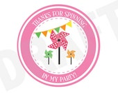 Pinwheel Favors Printable Stickers Pinwheel Favors Digital File Printable Party Favors Party Printable Labels Printable Birthday Favors Tags