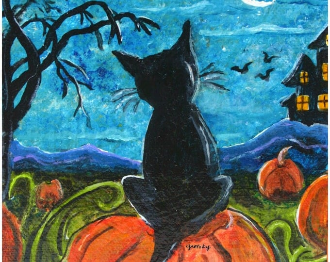 Halloween Cat in pumpkin Patch Print