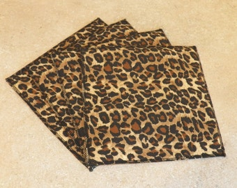 Cloth Wipes- Leopard Print- Set of 4- 15019