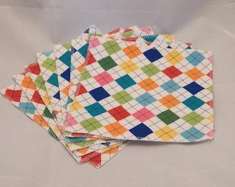 Cloth Wipes- Colorful Argyle- Set of 7- 15032
